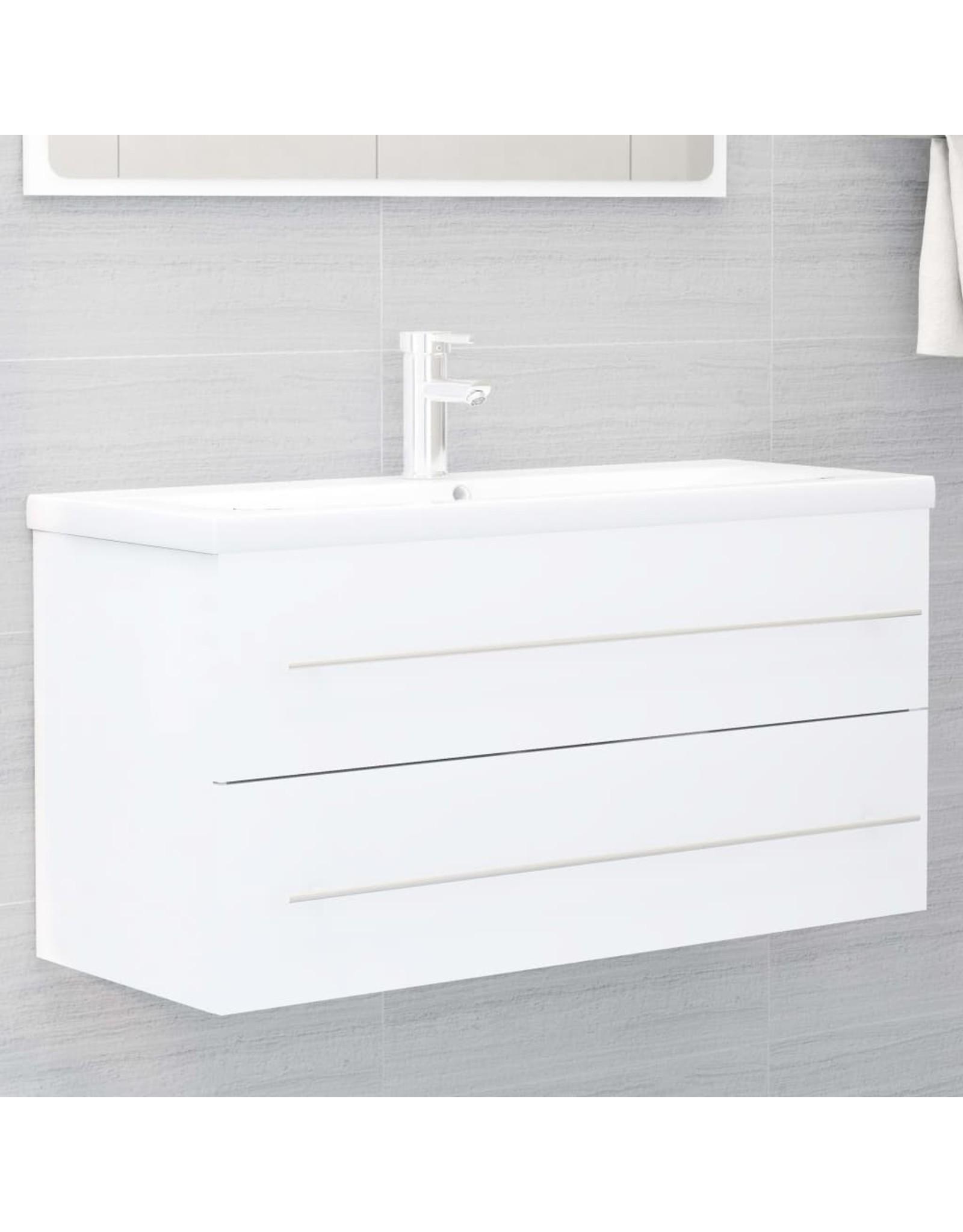 2-delige Badkamermeubelset spaanplaat wit