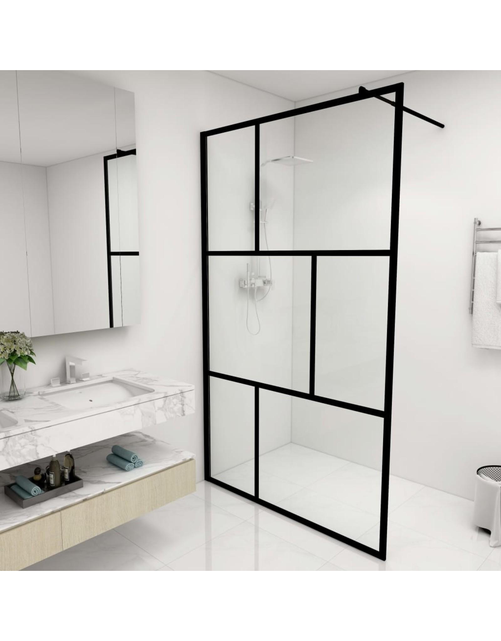 Inloopdouchewand 115x195 cm gehard glas zwart