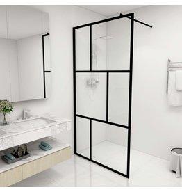 Inloopdouchewand 100x195 cm gehard glas zwart