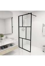 Inloopdouchewand 90x195 cm gehard glas zwart