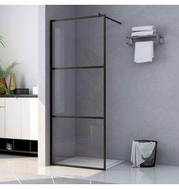 Inloopdouchewand transparant 115x195 cm ESG-glas zwart