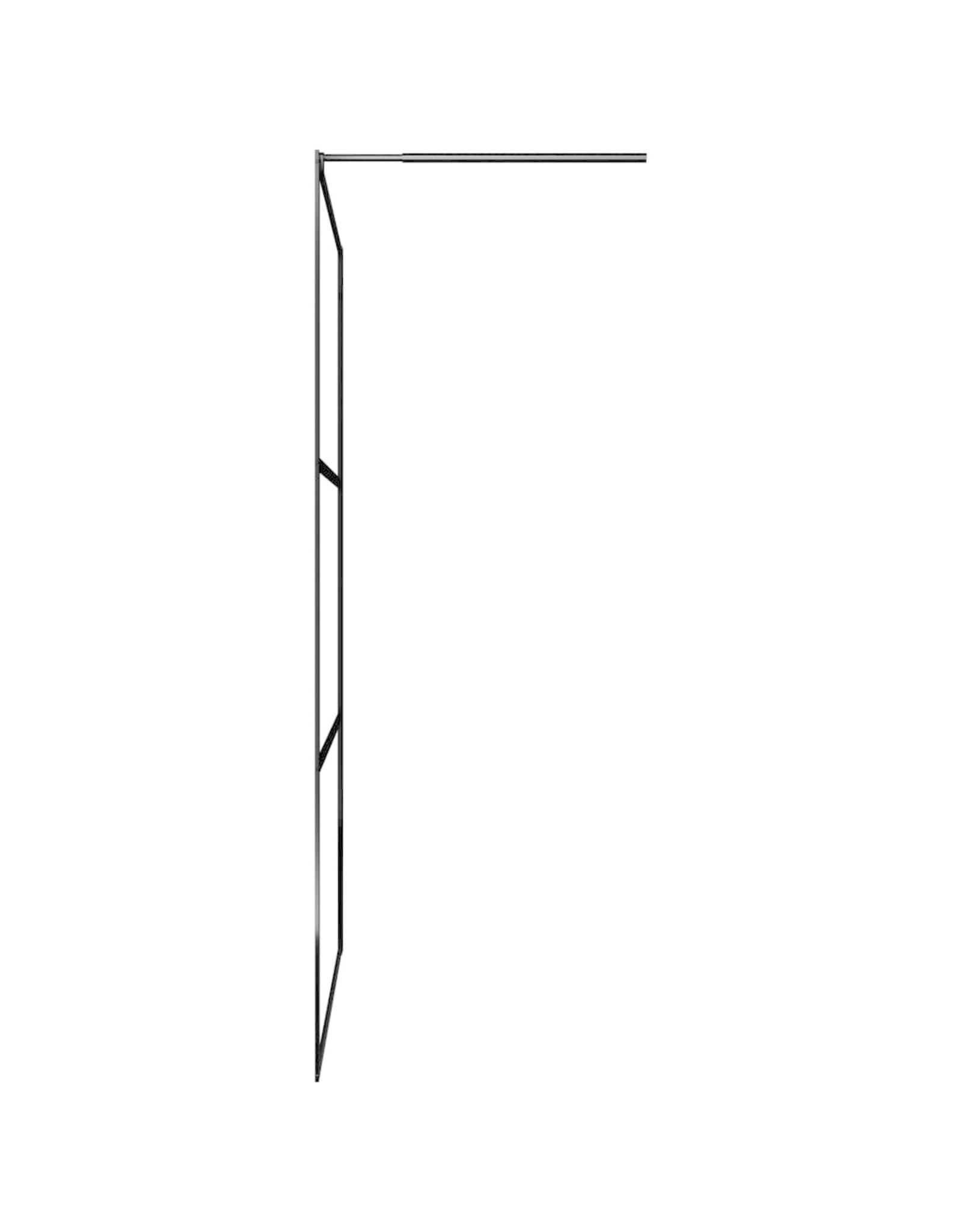 Inloopdouchewand transparant 100x195 cm ESG-glas zwart