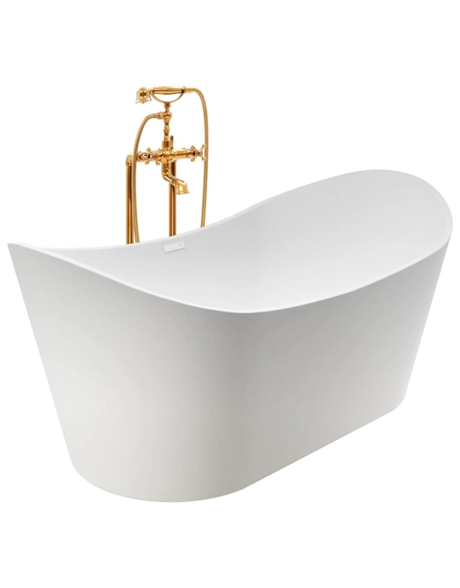 Badkuip vrijstaand met kraan 204 L 99,5 cm goudkleurig