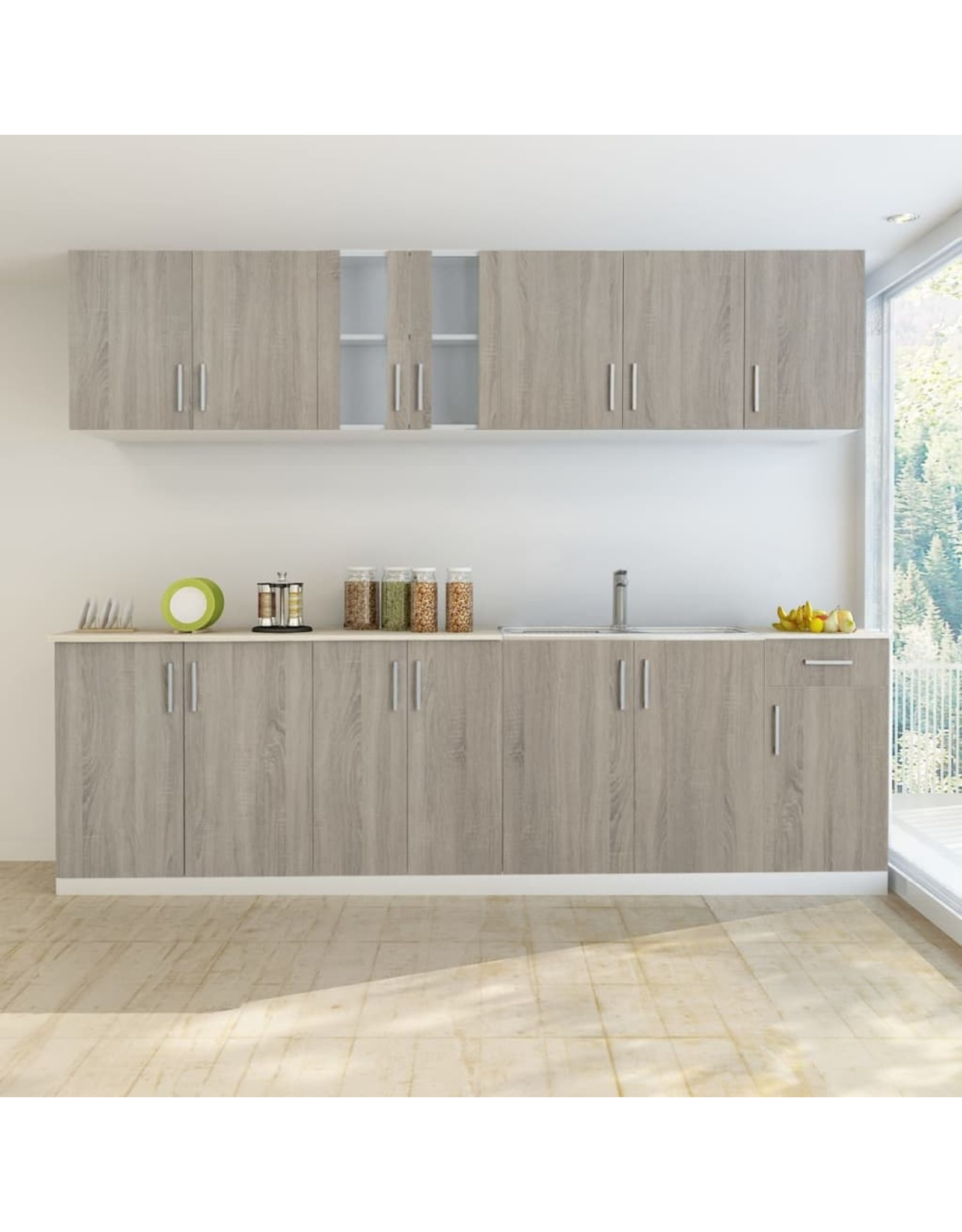 Keukenkastenset met gootsteenkast eiken-look 8-delig