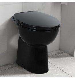 Toilet verhoogd 7 cm soft-close randloos keramiek zwart