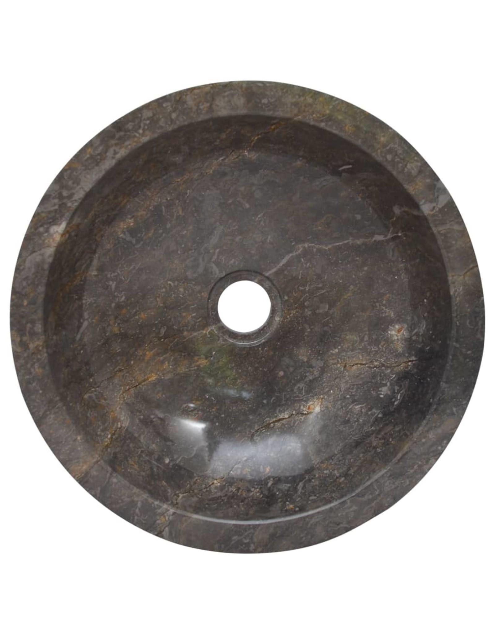 Gootsteen Ø40x12 cm marmer grijs
