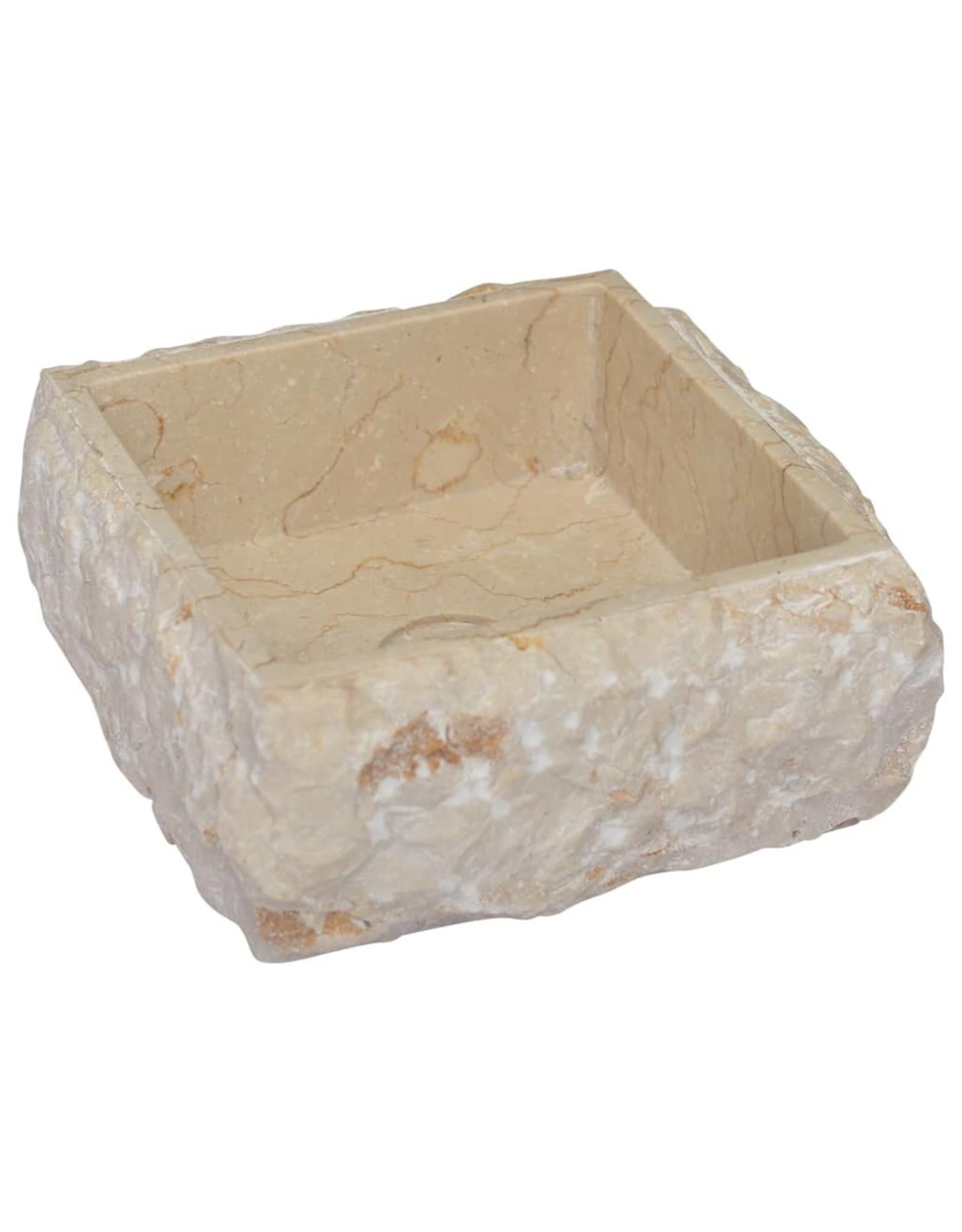 Gootsteen 30x30x13 cm marmer crèmekleurig