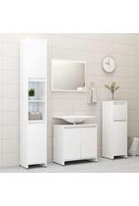 Badkamerkast 30x30x95 cm spaanplaat hoogglans wit