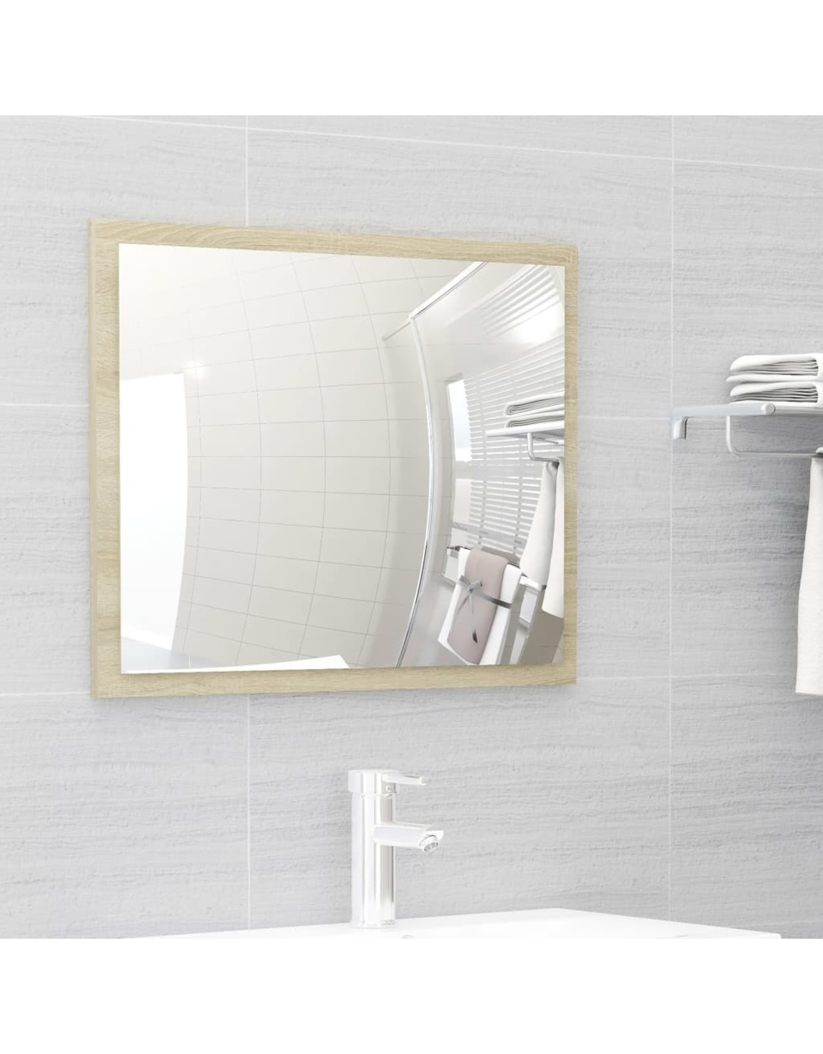 Badkamermeubelset spaanplaat wit en sonoma eikenkleurig