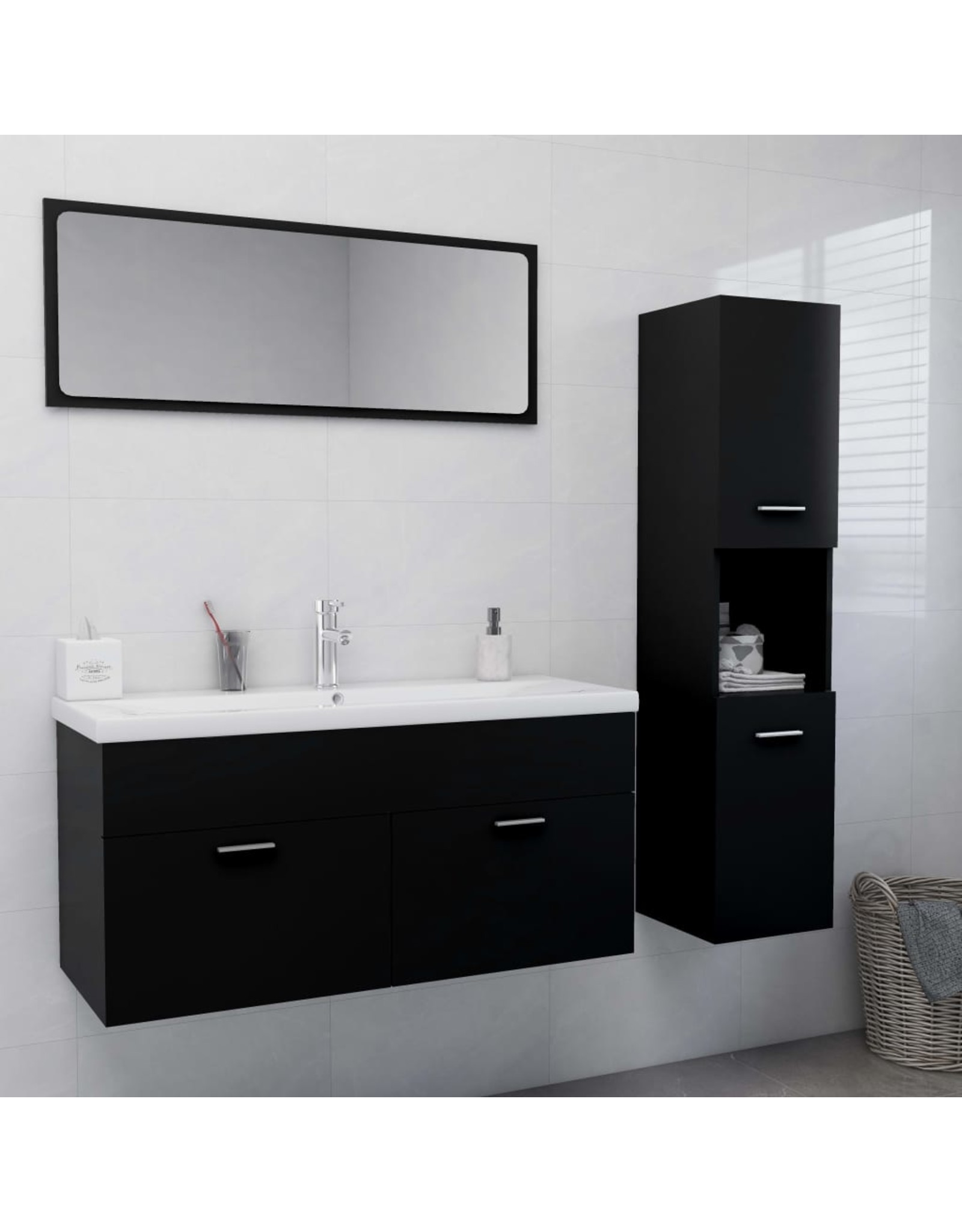 Badkamermeubelset spaanplaat zwart