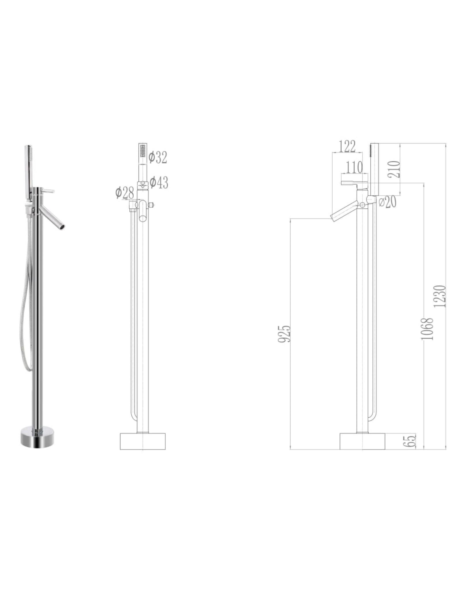 Badkuipkraan vrijstaand 110 cm roestvrij staal