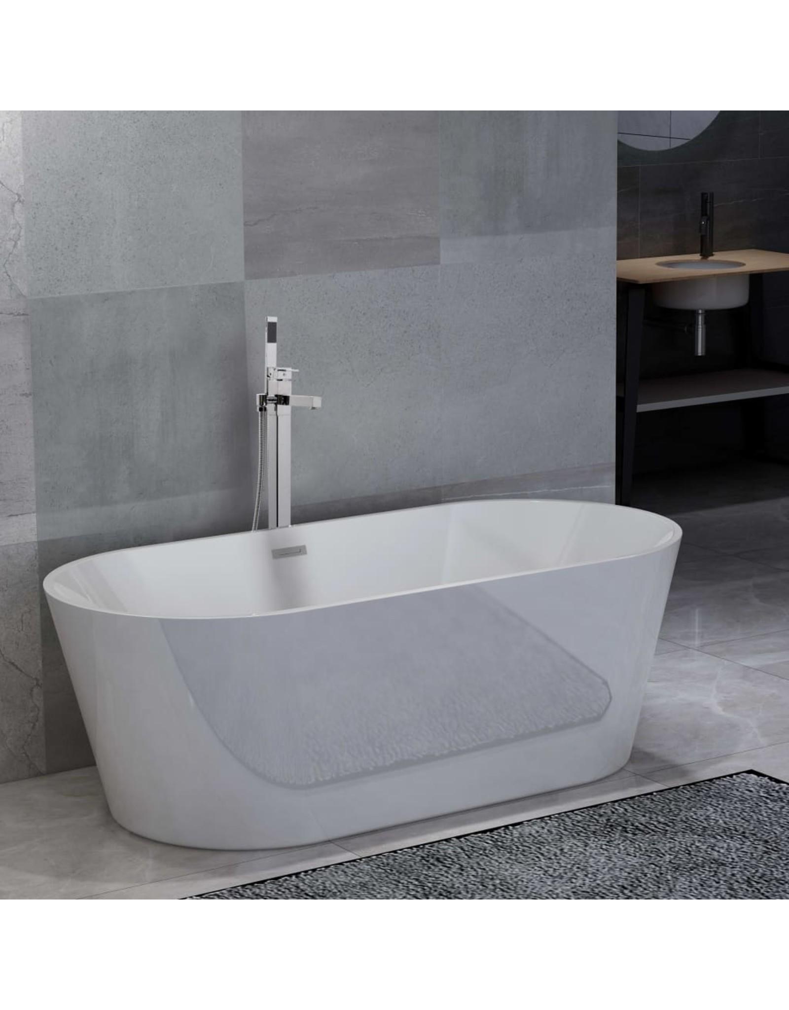 Badkuip vrijstaand met kraan 220 L 110 cm zilverkleurig