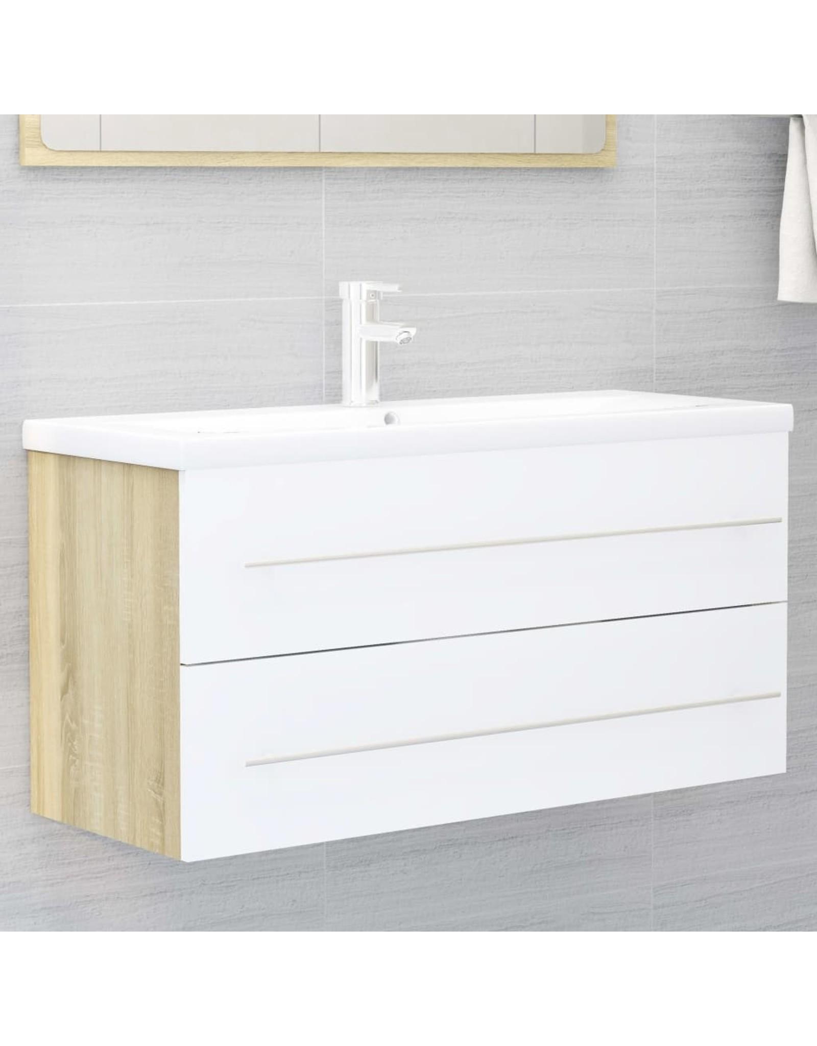 2-delige Badkamermeubelset spaanplaat wit en sonoma eikenkleur