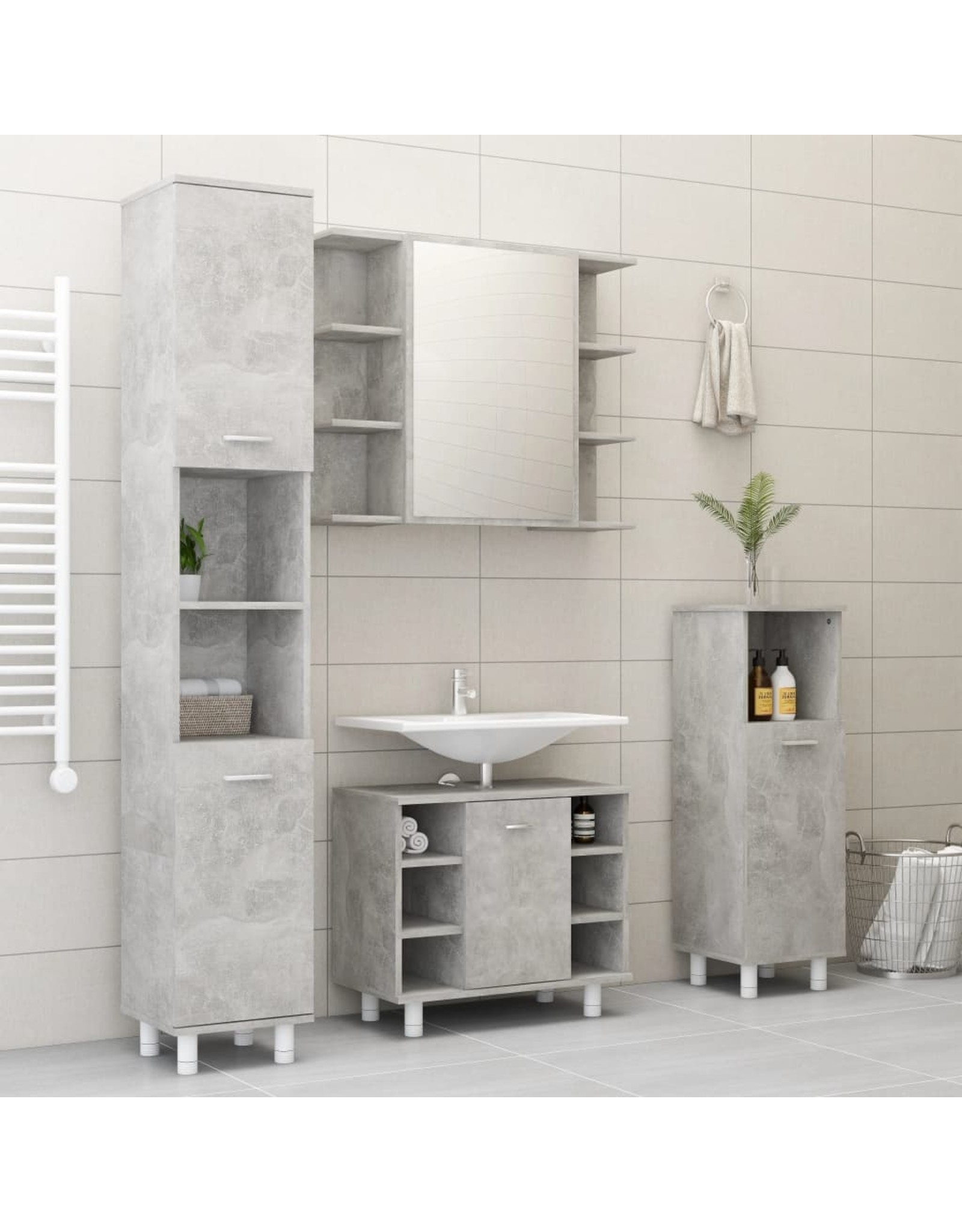 Badkamerkast 30x30x179 cm spaanplaat betongrijs