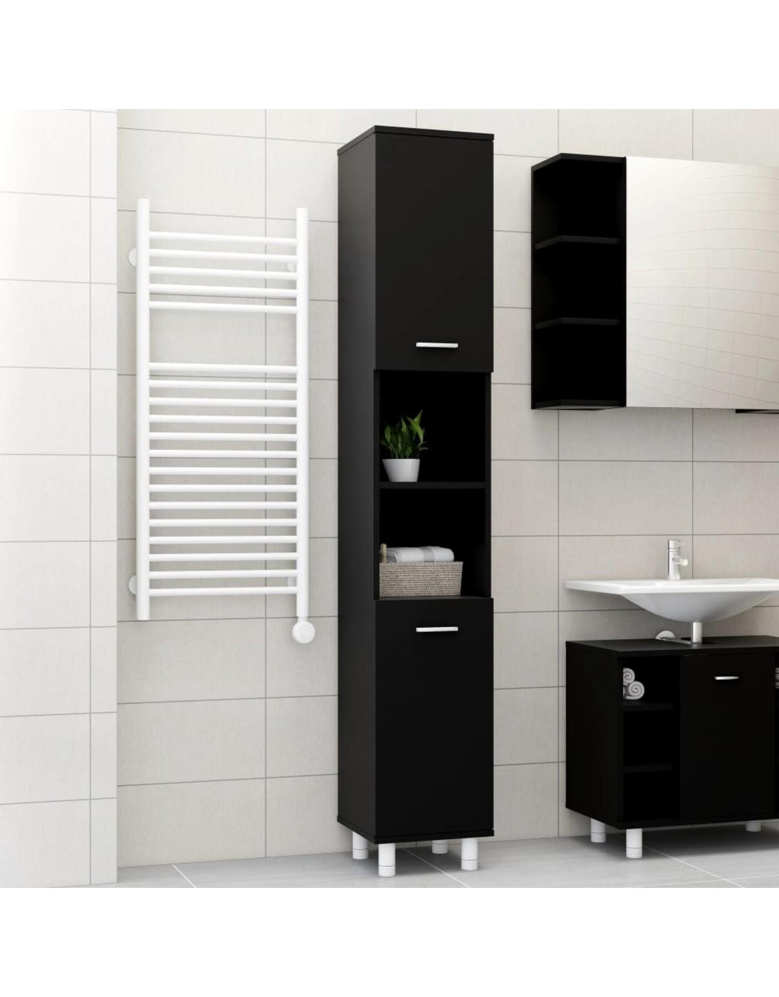 Badkamerkast 30x30x179 cm spaanplaat zwart
