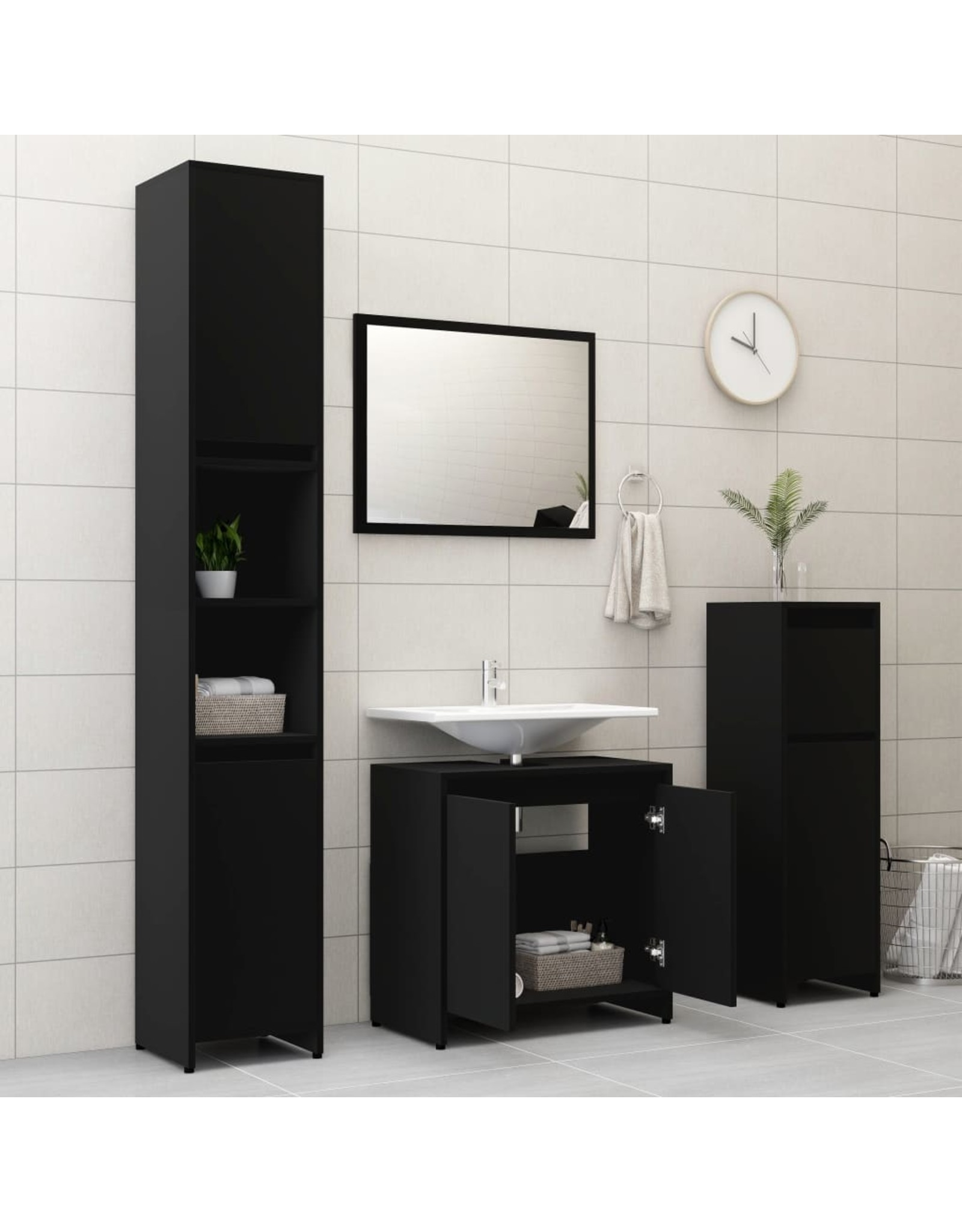 3-delige Badkamermeubelset spaanplaat zwart