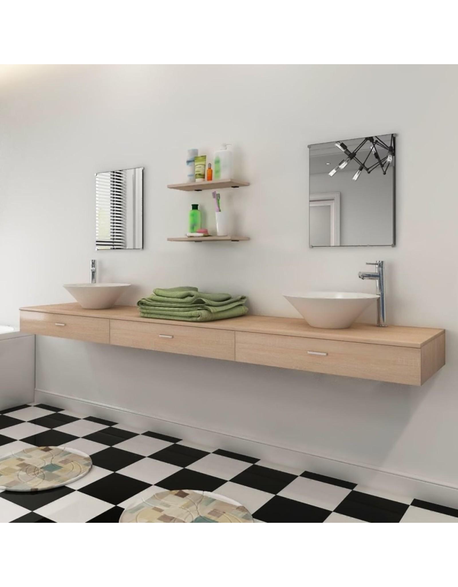 badkamermeubelset met wasbak beige 7-delig