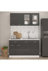 4-delige Keukenkastenset spaanplaat hoogglans grijs