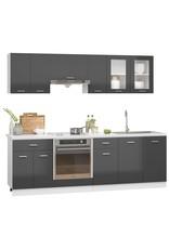 8-delige Keukenkastenset spaanplaat hoogglans grijs