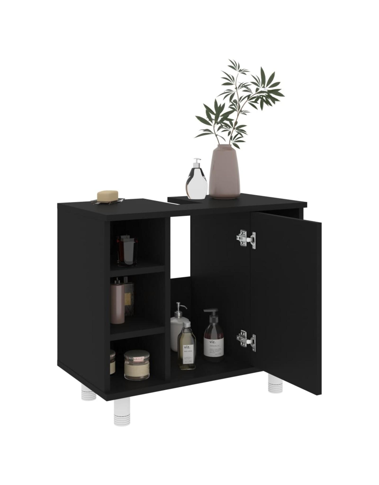 Badkamerkast 60x32x53,5 cm spaanplaat zwart