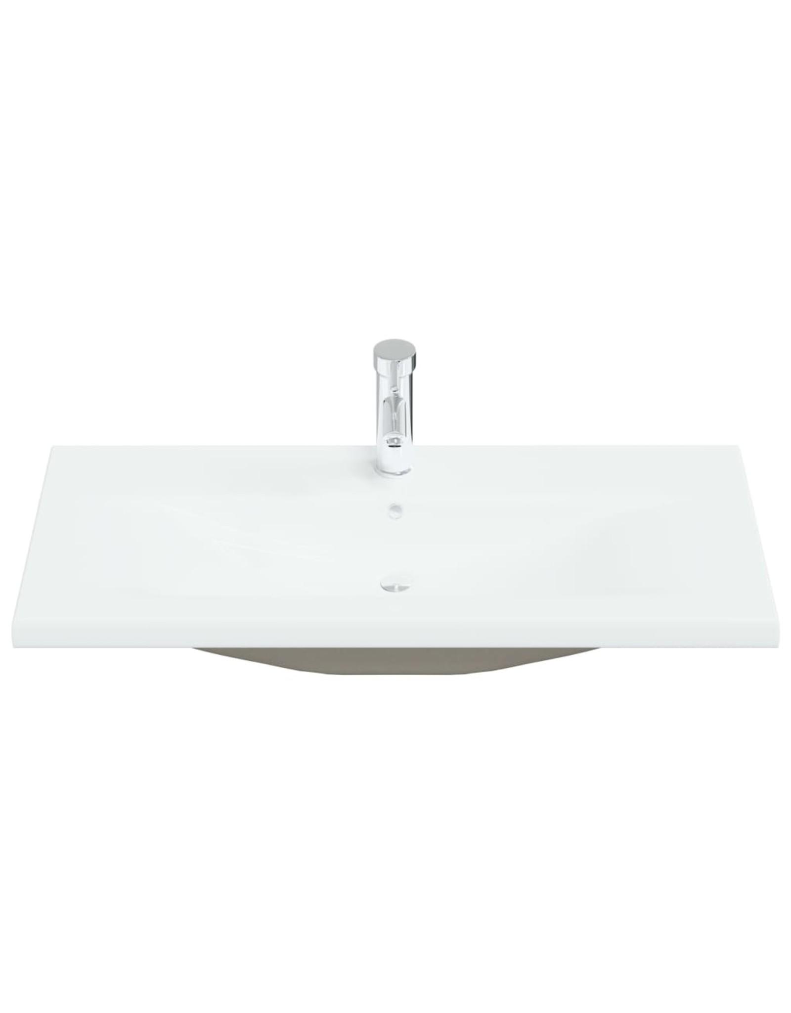 Inbouwwastafel met kraan 91x39x18 cm keramiek wit