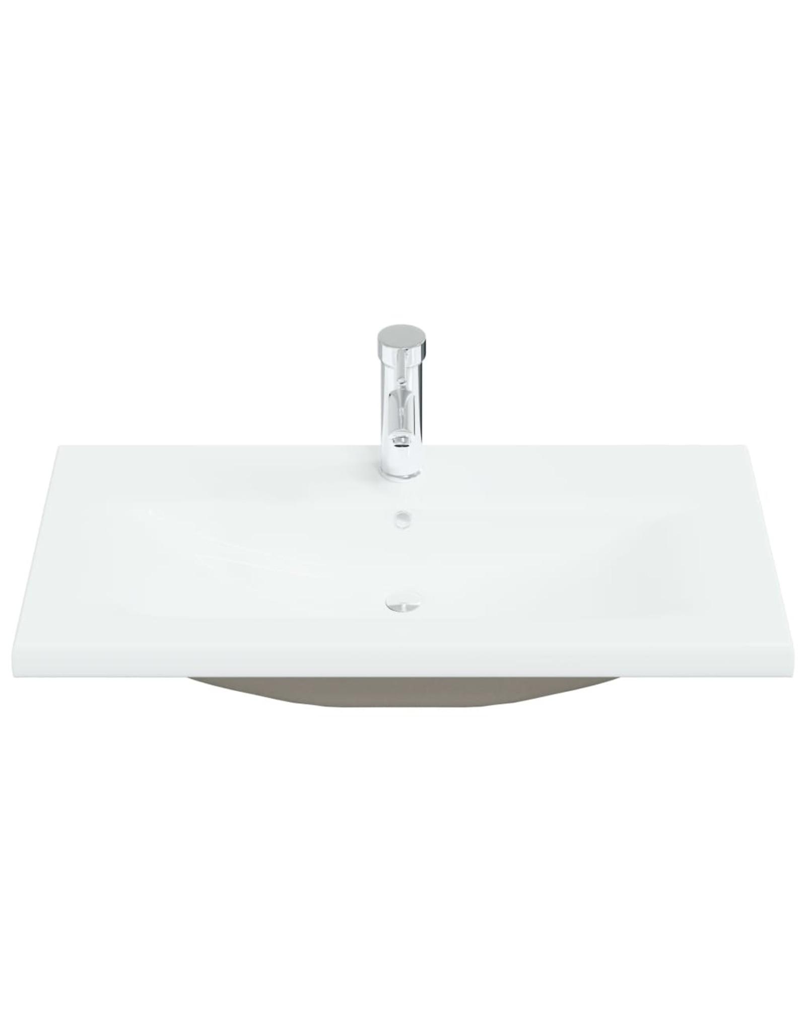 Inbouwwastafel met kraan 81x39x18 cm keramiek wit