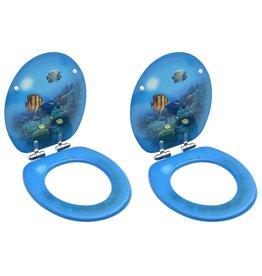 Toiletbrillen met soft-close deksel 2 st diepzee MDF