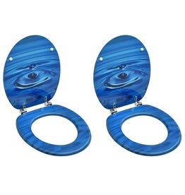 Toiletbrillen met deksel 2 st waterdruppel MDF blauw