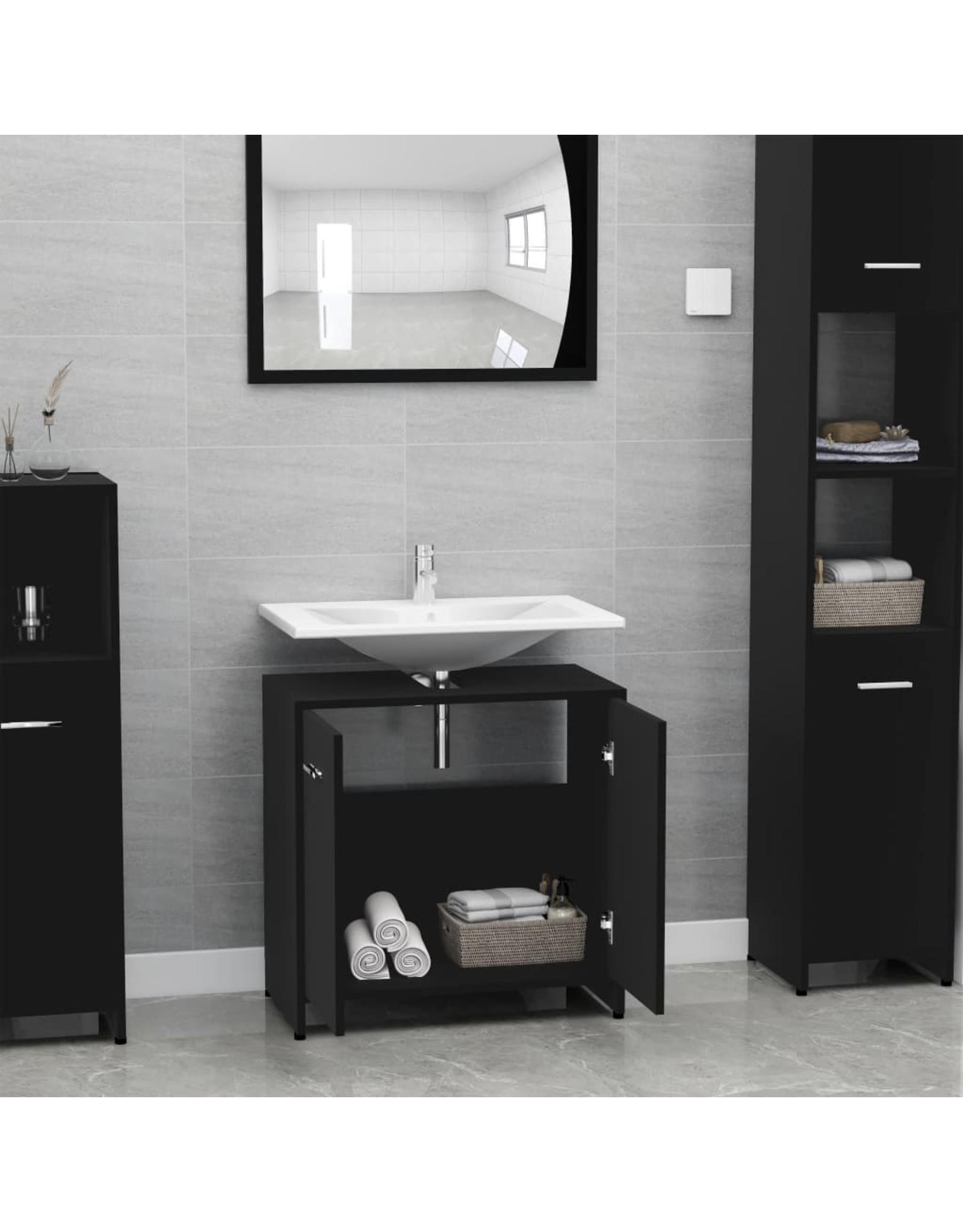 Badkamerkast 60x33x58 cm spaanplaat zwart