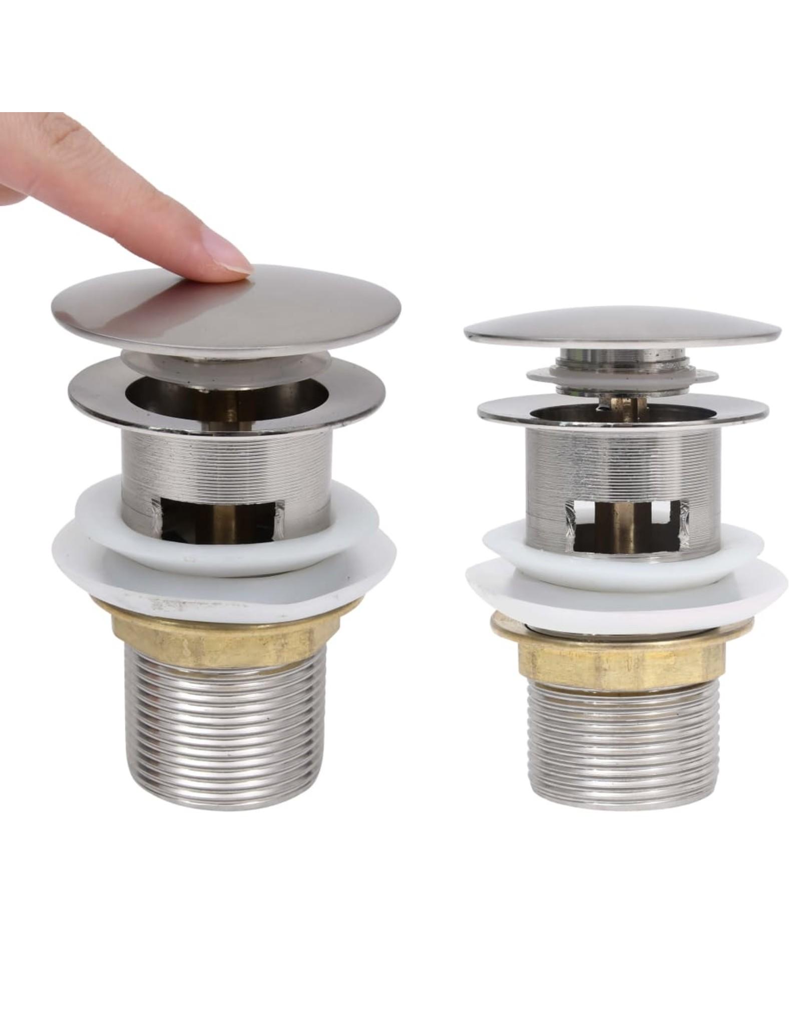 Afvoer pop-up met overloop 6,4x6,4x9,1 cm nikkelkleurig