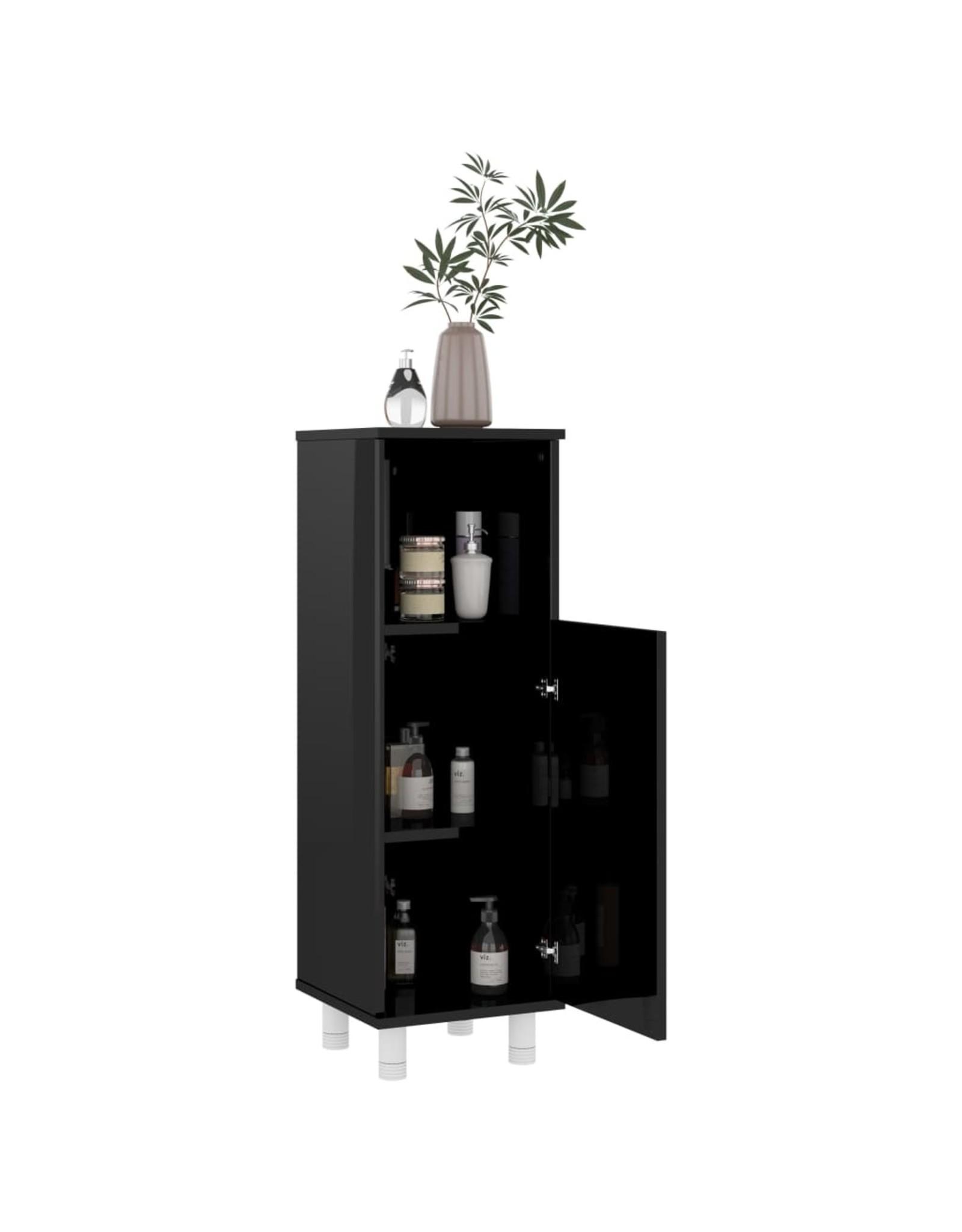 Badkamerkast 30x30x95 cm spaanplaat hoogglans zwart