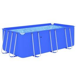 Zwembad met stalen frame 400x207x122 cm blauw