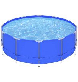 Zwembad met stalen frame 457x122 cm blauw