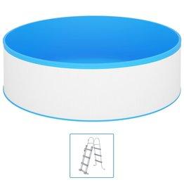 Splasher pool met 4-tredige ladder 350x90 cm wit