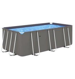 Zwembad met stalen frame 400x207x122 cm antracietkleurig