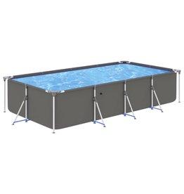 Zwembad met stalen frame 394x207x80 cm antracietkleurig