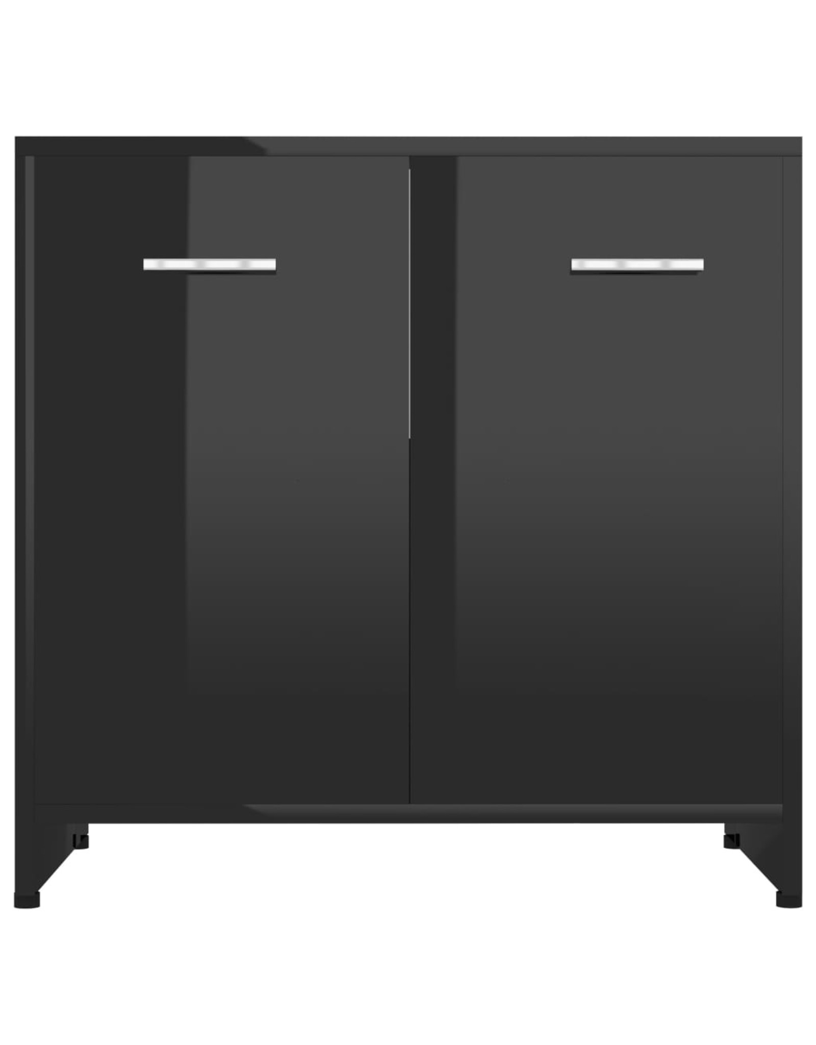 4-delige Badkamermeubelset hoogglans zwart