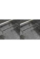 Doucheafvoer 2 st rechthoekig 630x140 mm roestvrij staal