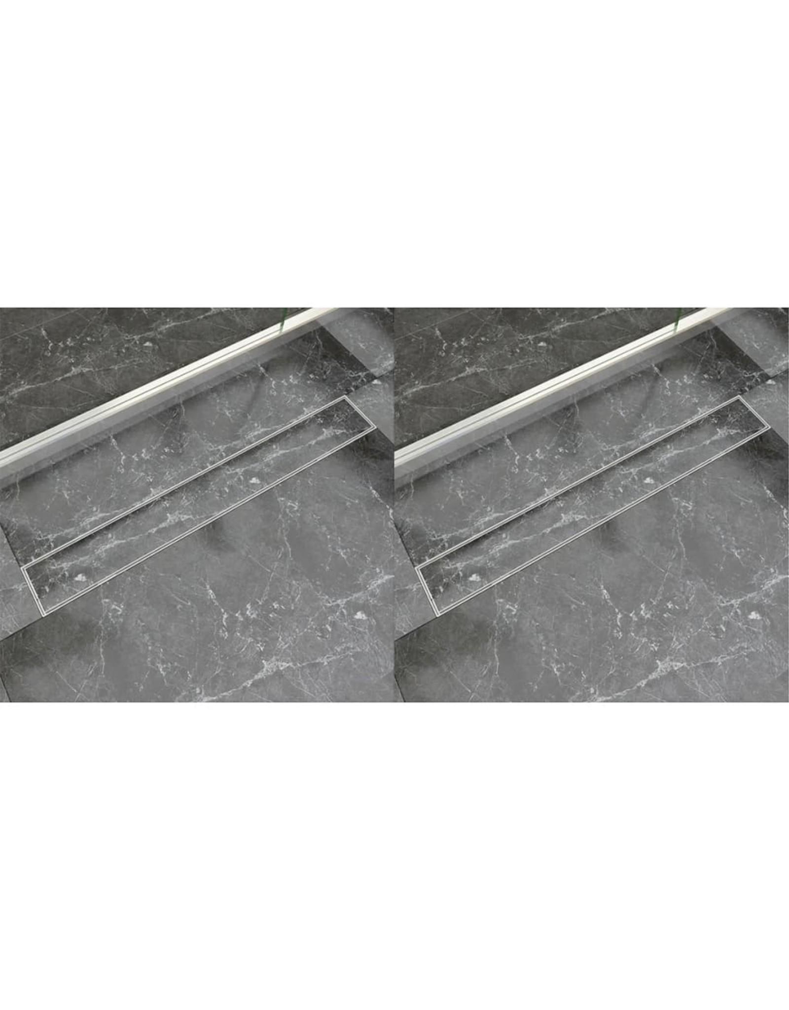 Doucheafvoer 2 st rechthoekig 830x140 mm roestvrij staal