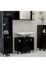Badkamerkast 60x32x53,5 cm spaanplaat hoogglans zwart