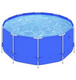 Zwembad met stalen frame 367x122 cm blauw