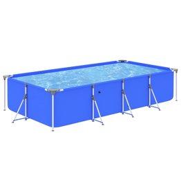 Zwembad met stalen frame 394x207x80 cm blauw