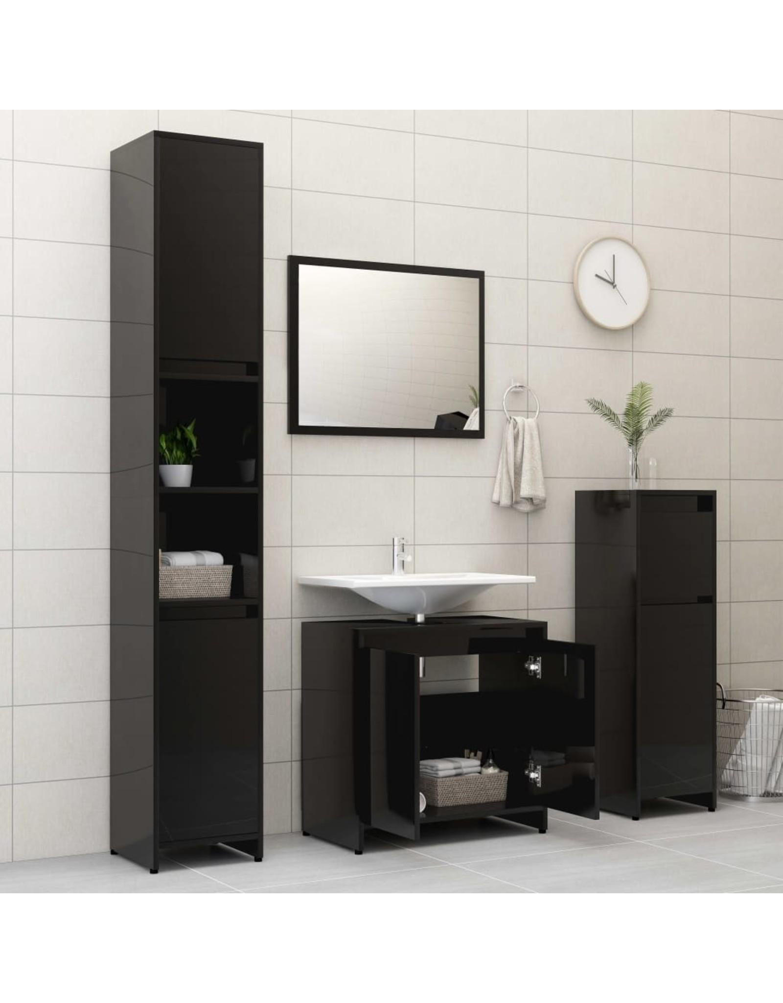 Badkamermeubelset spaanplaat hoogglans zwart