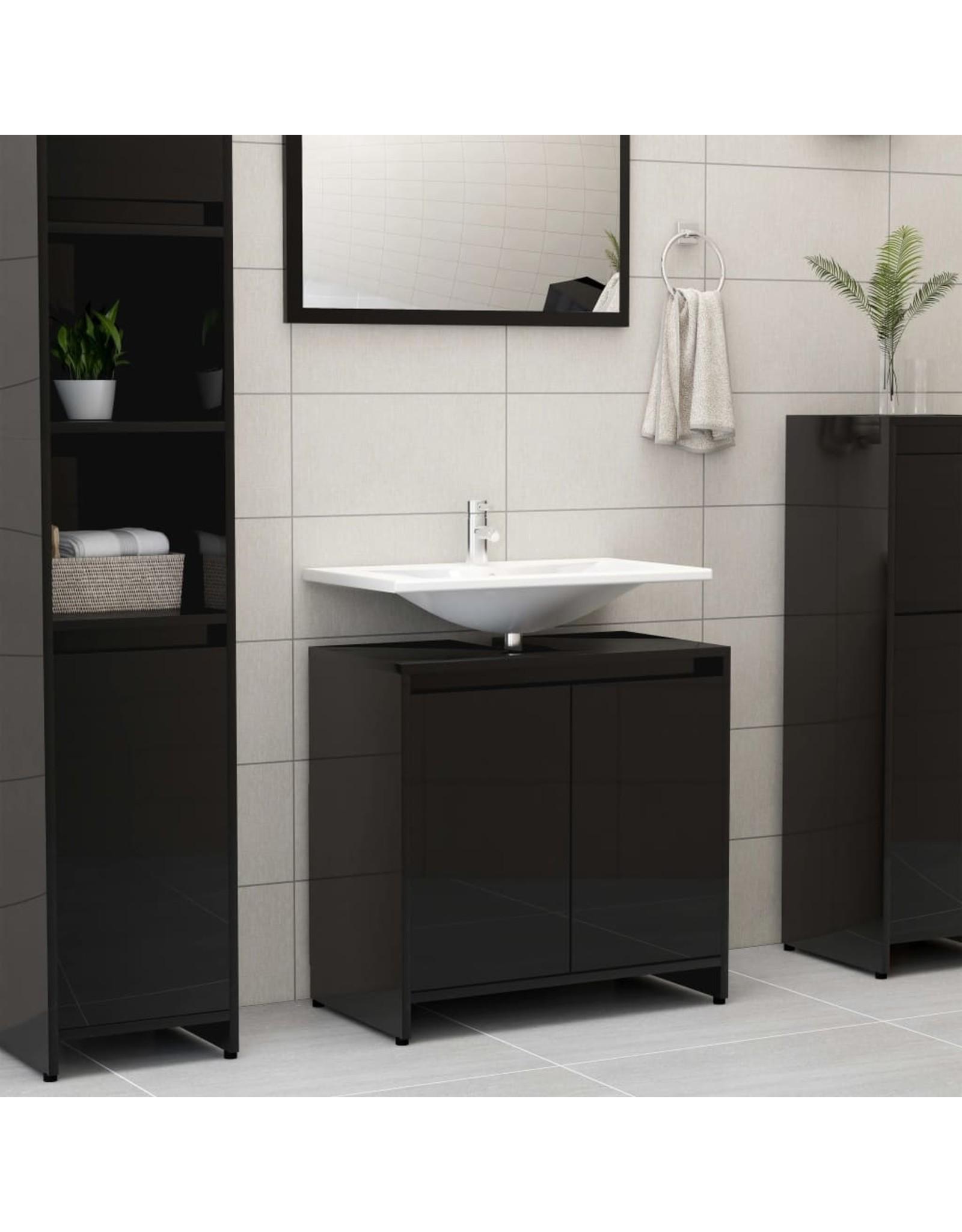 Badkamerkast 60x33x58 cm spaanplaat hoogglans zwart