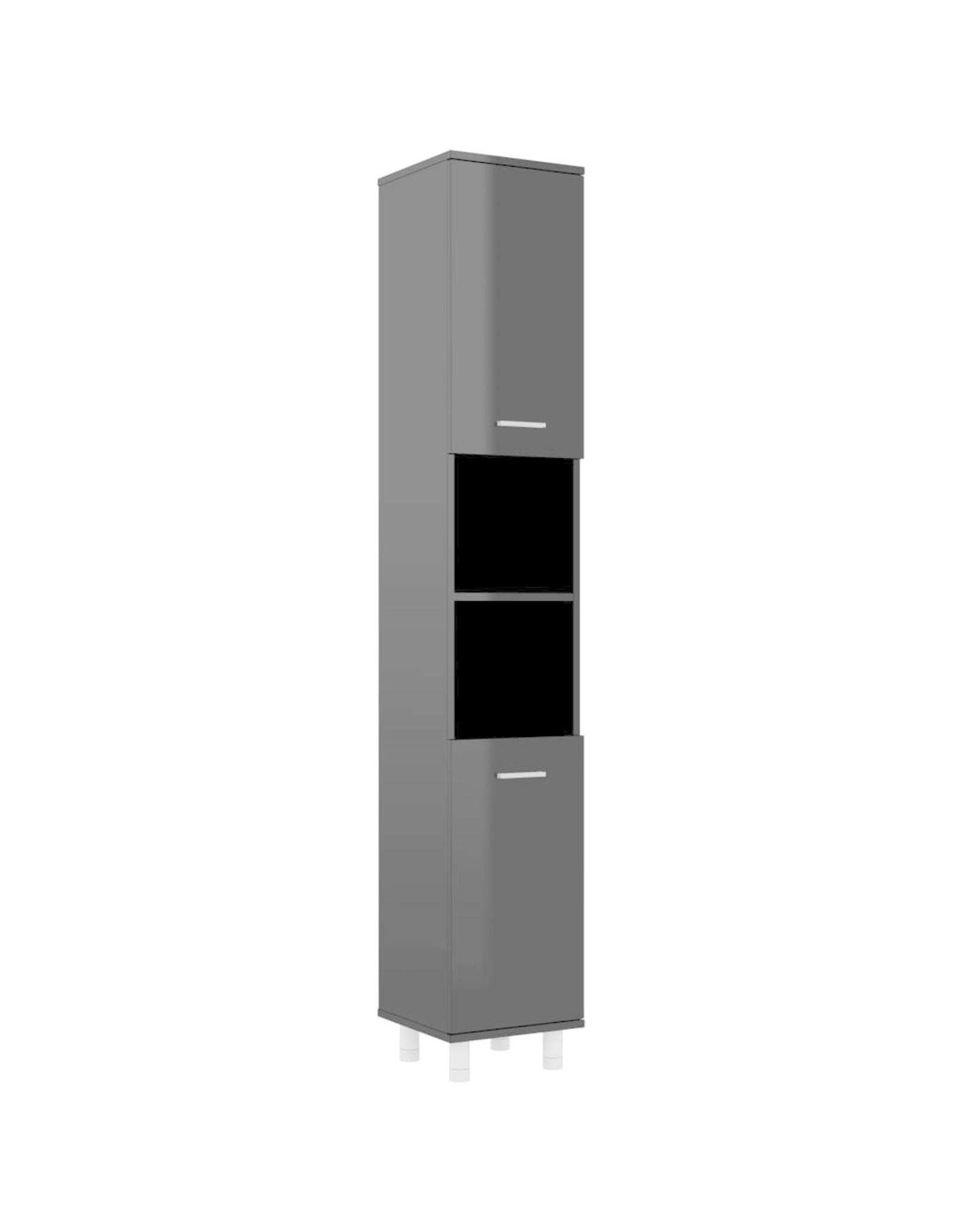 Badkamerkast 30x30x179 cm spaanplaat hoogglans zwart