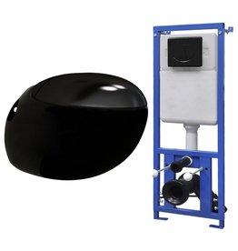 Hangend toilet met verborgen stortbak ei-design zwart