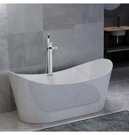 Badkuip vrijstaand met kraan 204 L 110 cm zilverkleurig