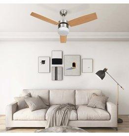 Plafondventilator met lamp afstandsbediening 108 cm lichtbruin