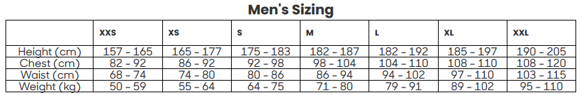 Size table stylish cycling apparel for men Black Sheep Cycling