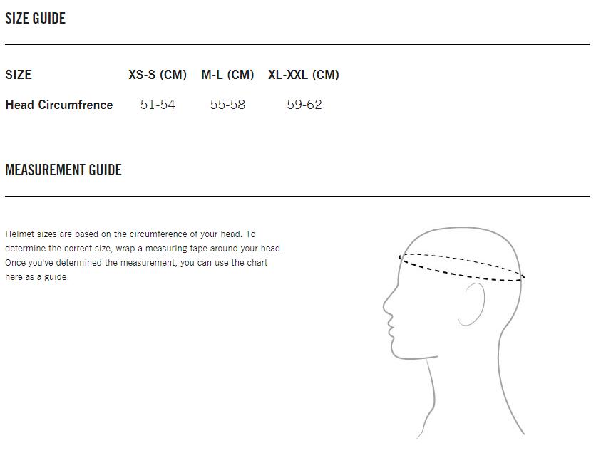 Size guide maattabel kinderhelmen POC